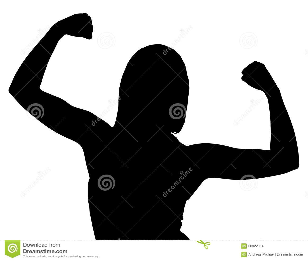 Silhouette Woman Flexing.