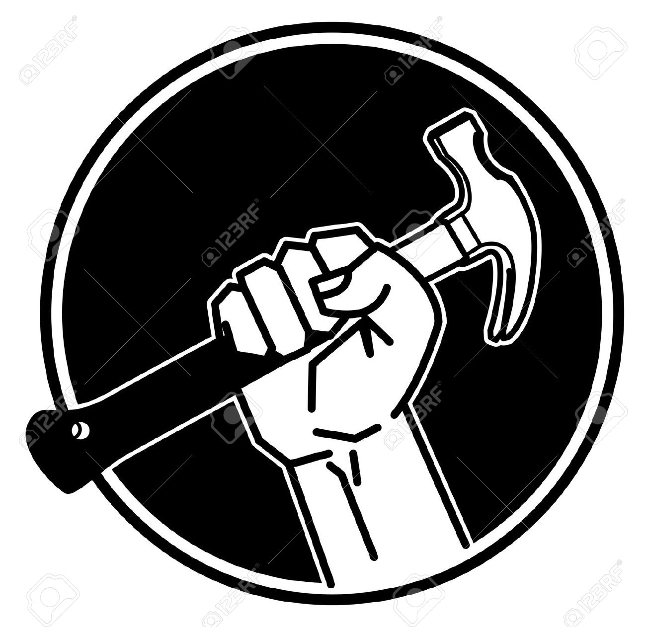 man with hammer clipart black and white #20