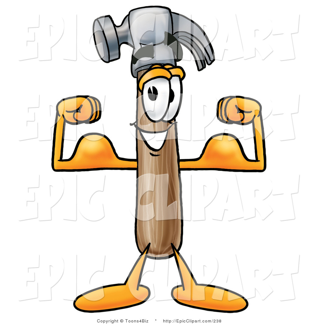 Clip Art of a Strong Hammer Mascot Cartoon Character Flexing His.