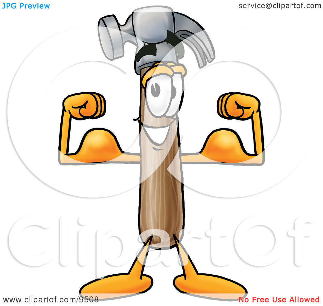 Clipart Picture of a Hammer Mascot Cartoon Character Flexing His.