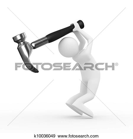 Stock Illustration of Man swings arm hammer on white background.
