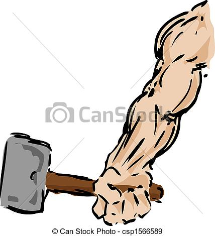 Stock Illustration of Arm with hammer.