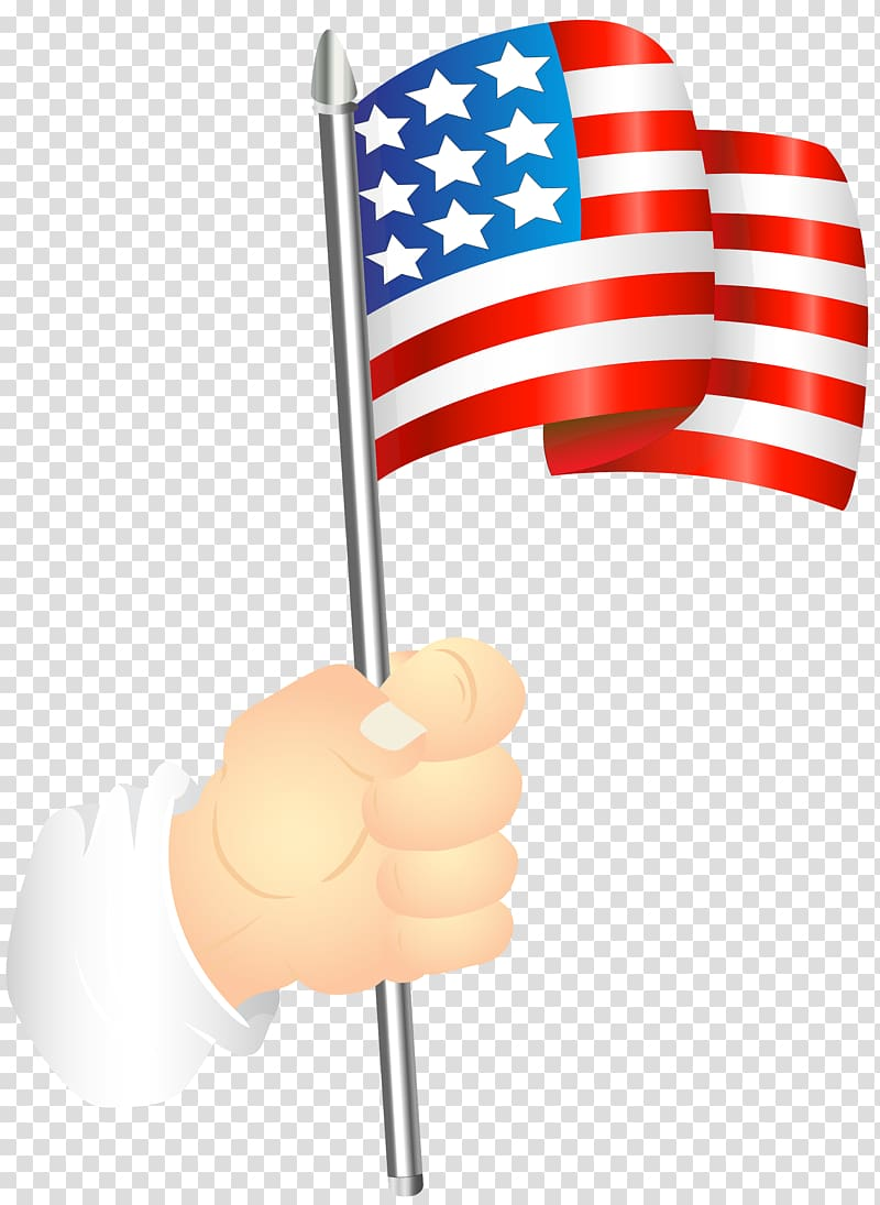 Flag of the United States , Hand with an American Flag.