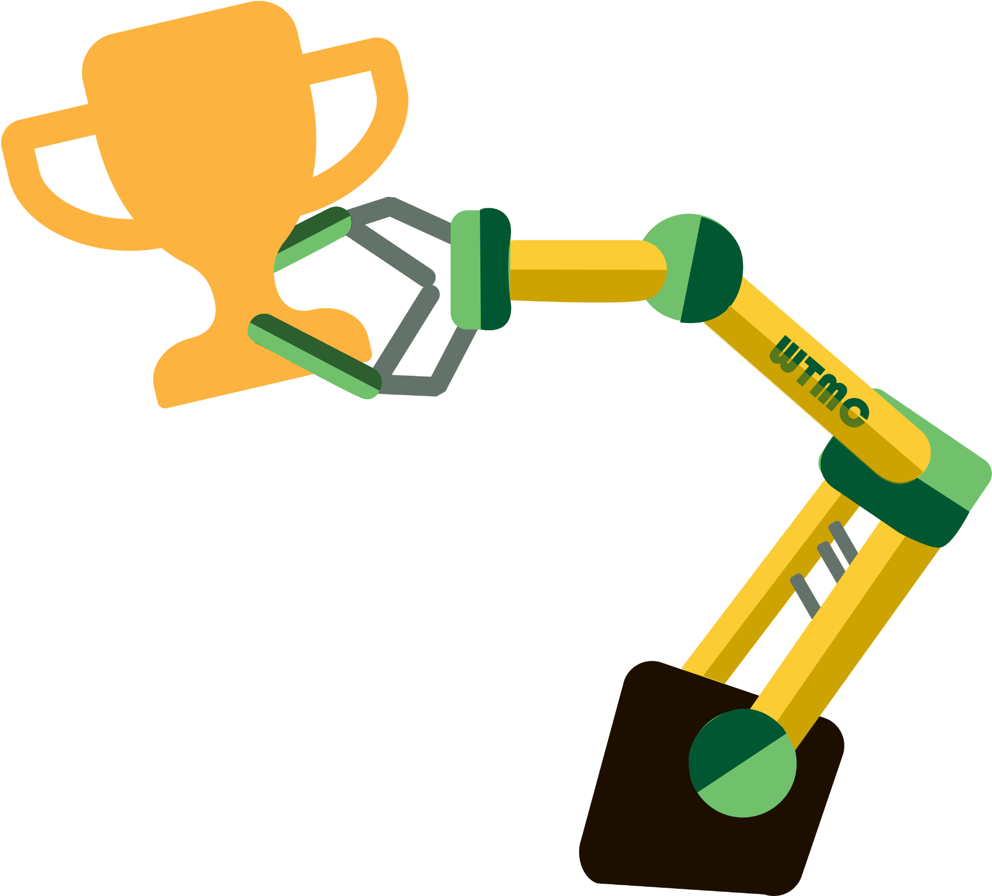 Robotic Arm Holding A Trophy In Its Claw Clipart.