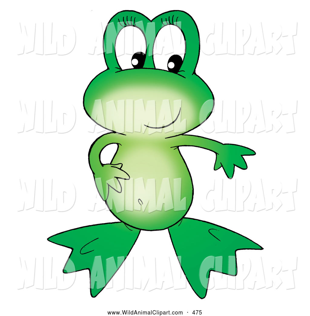 Clip Art of a Friendly Cute Green Frog with One Hand on Her.