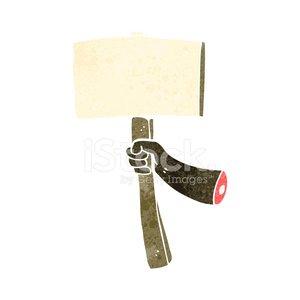 retro cartoon arm holding sign Clipart Image.