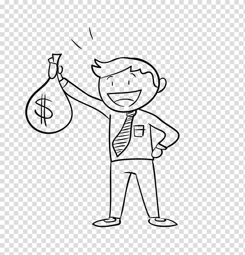 Man holding dollar bag illustration, Money bag Holding.