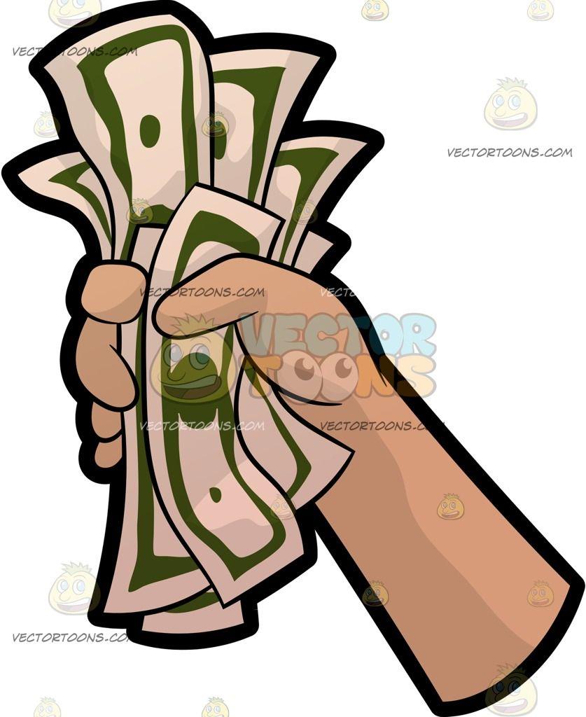Cartoon A Hand Holding A Fist Full Of Money vector clip art.