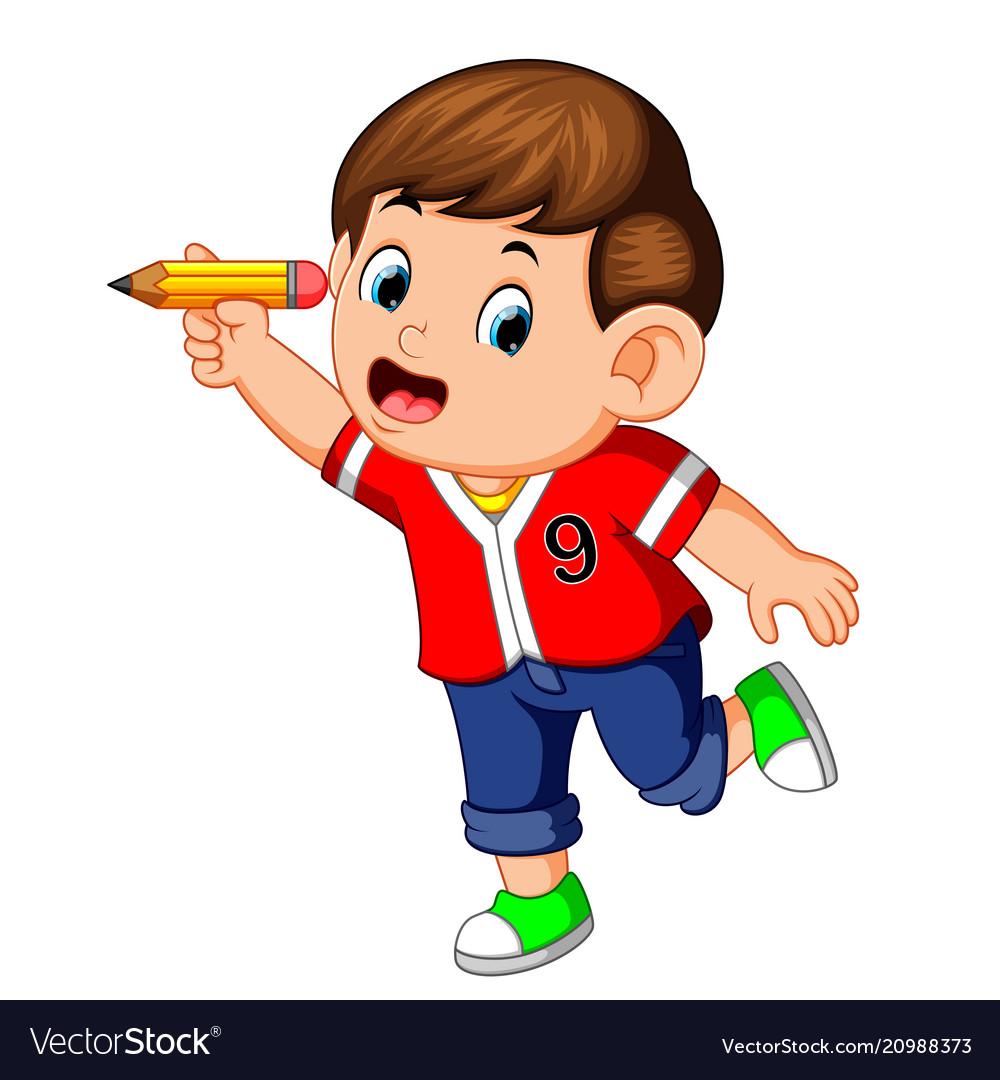 Happy boy holding pencil.