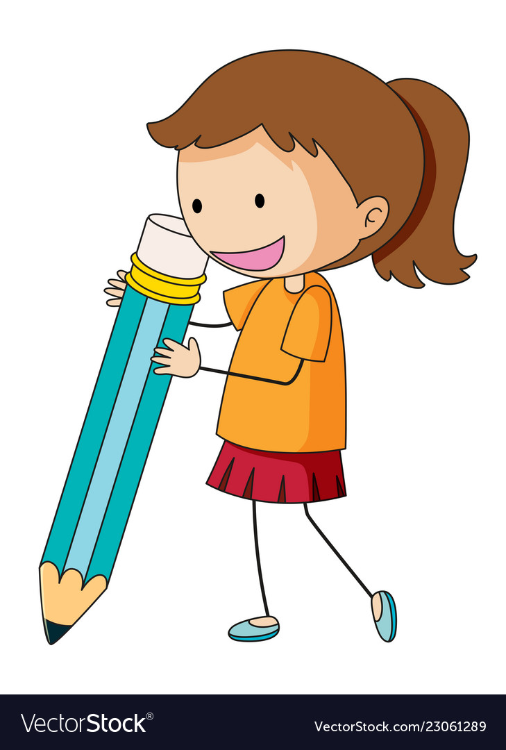 Doodle girl holding pencil.