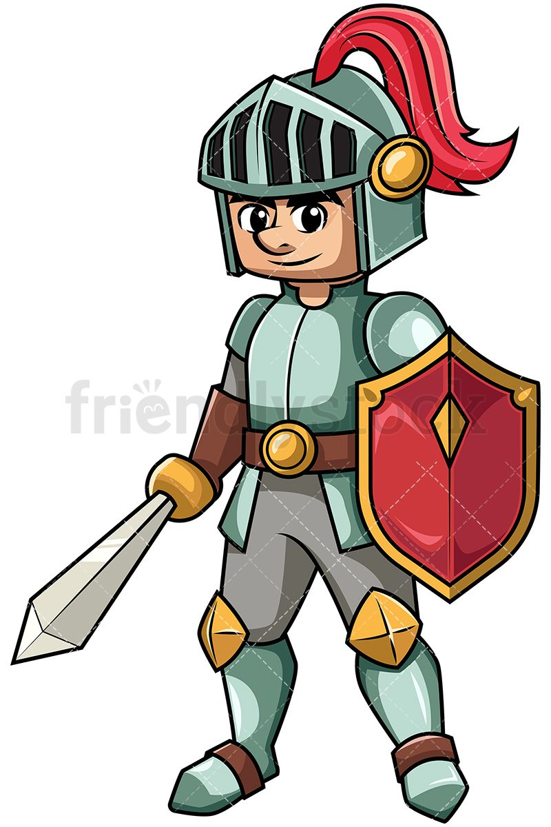 Knight Holding Sword And Shield.