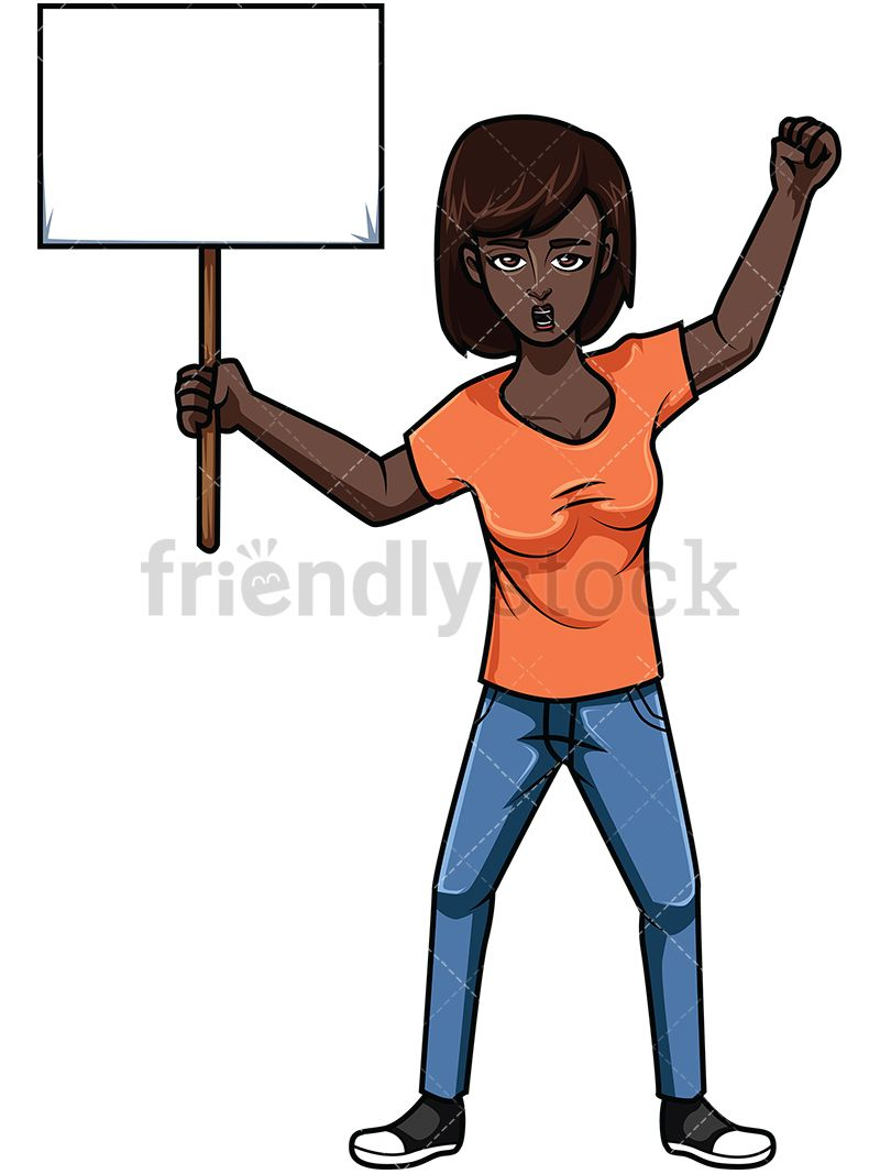 Black Woman Holding Protest Sign.