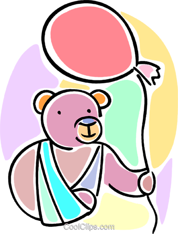 teddy bear with his arm in a sling Royalty Free Vector Clip.
