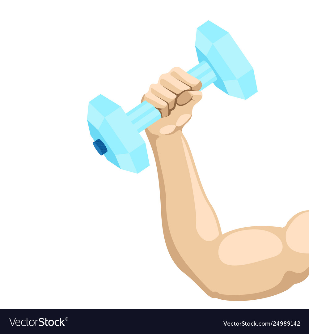Arm lifting a dumbbell with water.