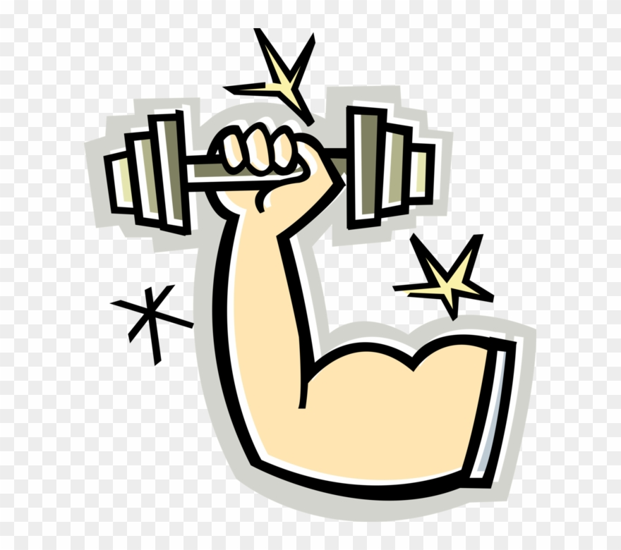 Vector Illustration Of Weightlifter Muscular Arm With.