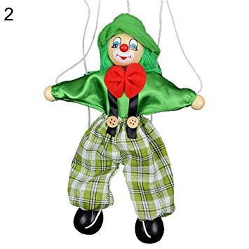 Amazon.com: Brave669 Kids Pull String Clown Puppet Wooden.