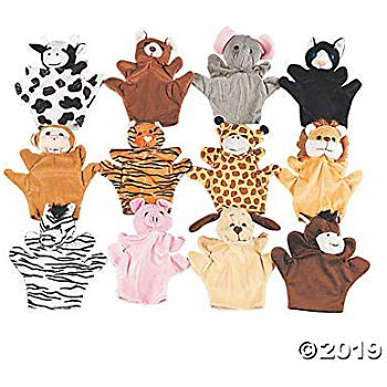 Five Finger Animal Hand Puppets with Arms and Legs (Set of 12) Zoo and Farm.