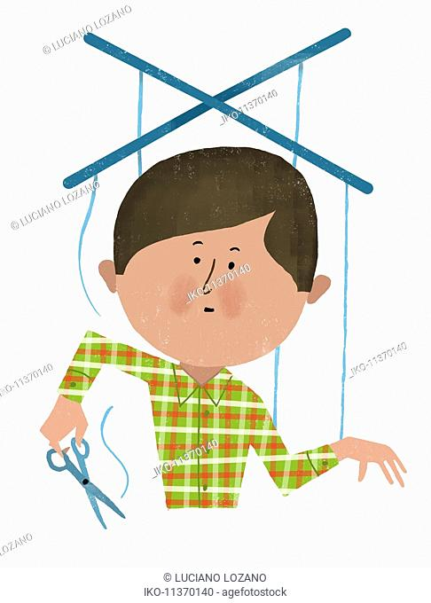 Man cutting puppet strings Stock Photos and Images.