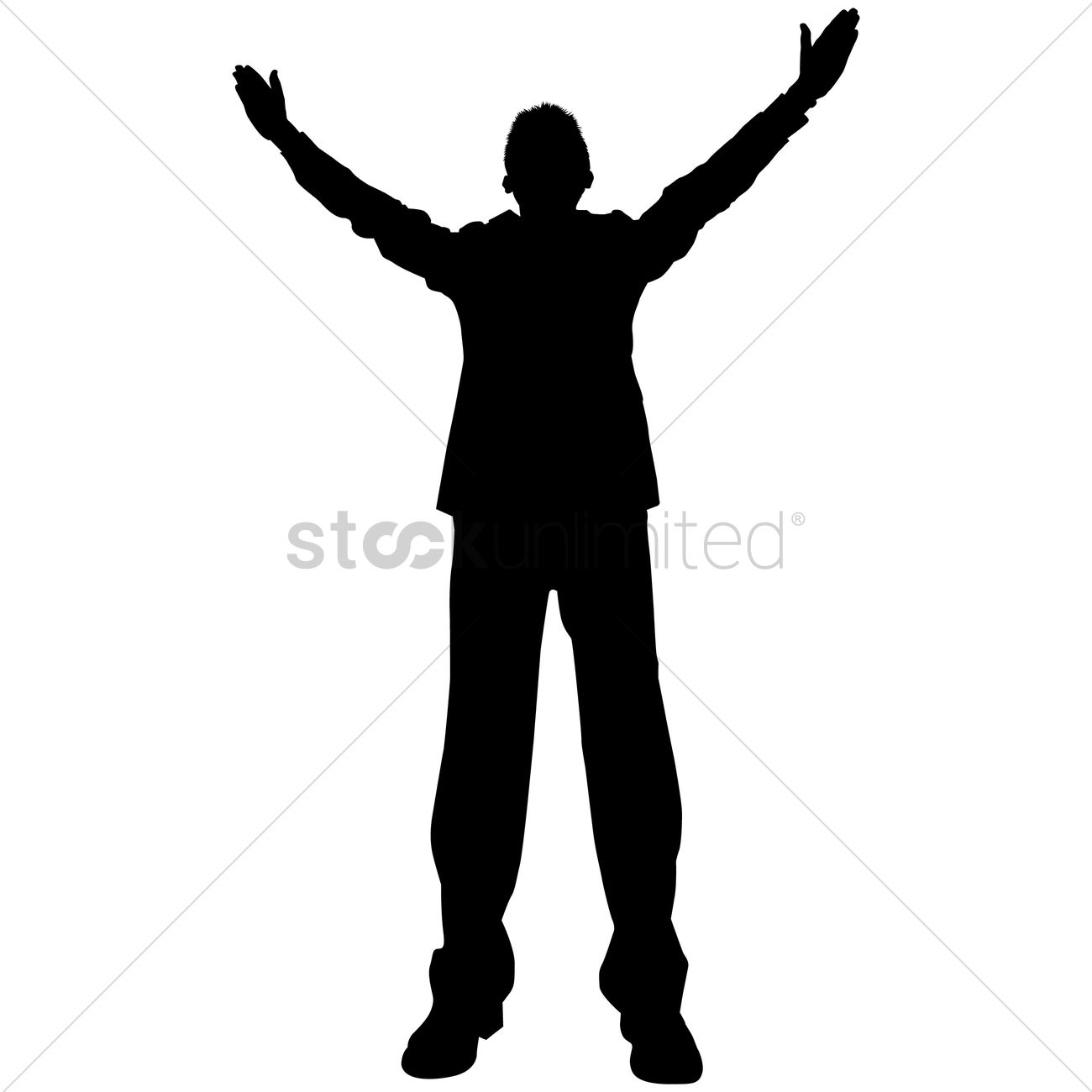 Silhouette Man With Arms Raised.