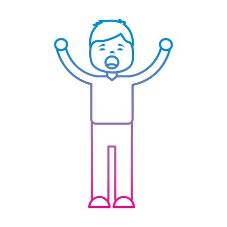 young cartoon boy yawning stretching arms vector.