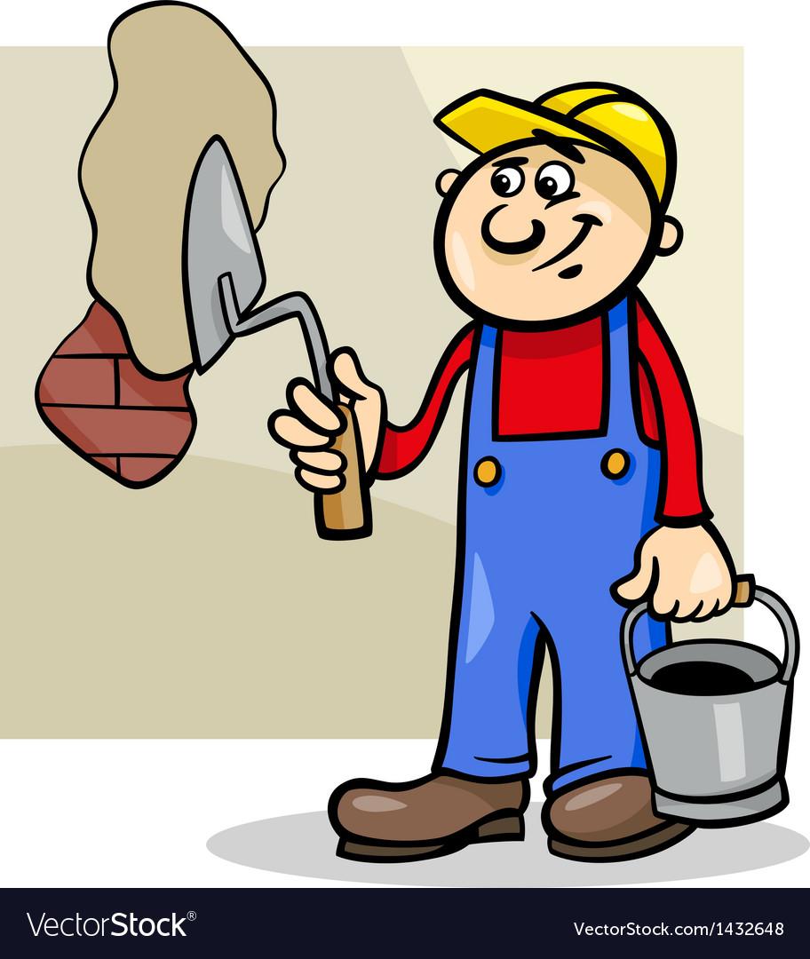 Worker with trowel cartoon.