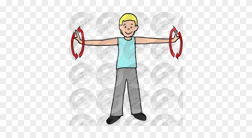 Exercising clipart arm circle, Exercising arm circle.
