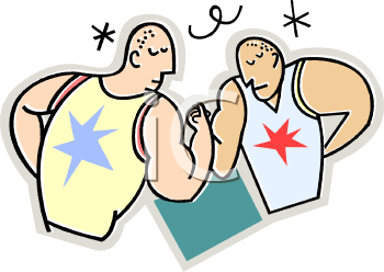 Cartoon of Two Guys Arm Wrestling.