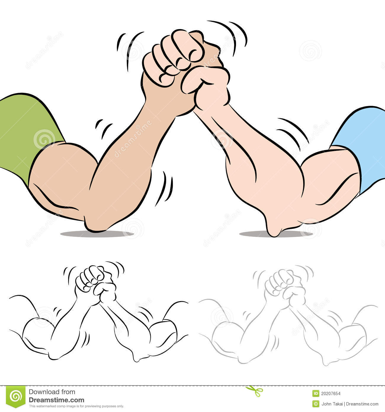 Two People Arm Wrestling Stock Images.