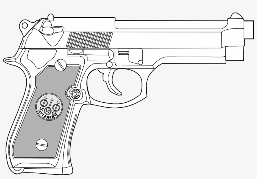 Handgun Drawing 9mm Pistol.