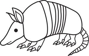 Free Armadillo Clip Art Image: black and white cartoon clip art of.