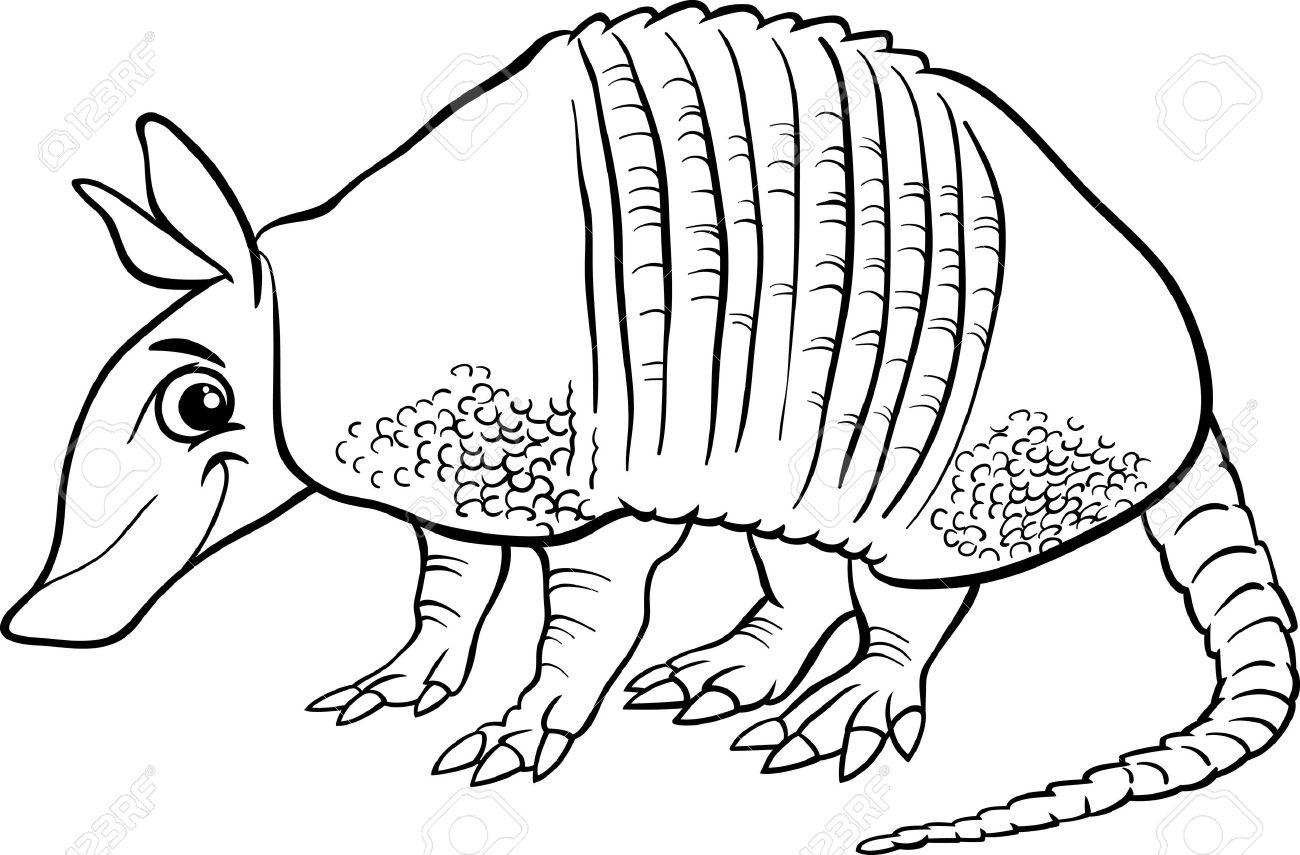 Black and White Cartoon Illustration of Cute Armadillo Animal...