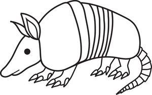 Free Armadillo Clip Art Image: black and white cartoon clip.