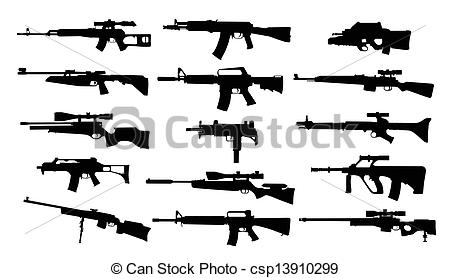 Stock Illustration of Weapons. Set of rifles csp13910299.