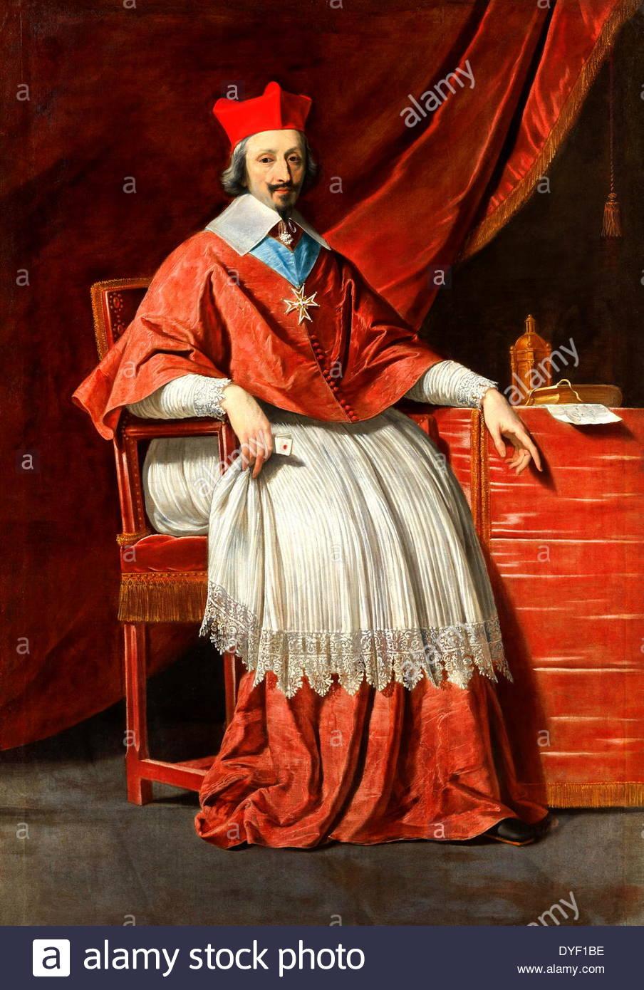 Portrait of Armand Jean du Plessis de Richelieu Stock Photo.