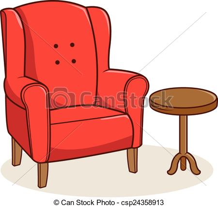 Vector Clip Art of Armchair and side table.