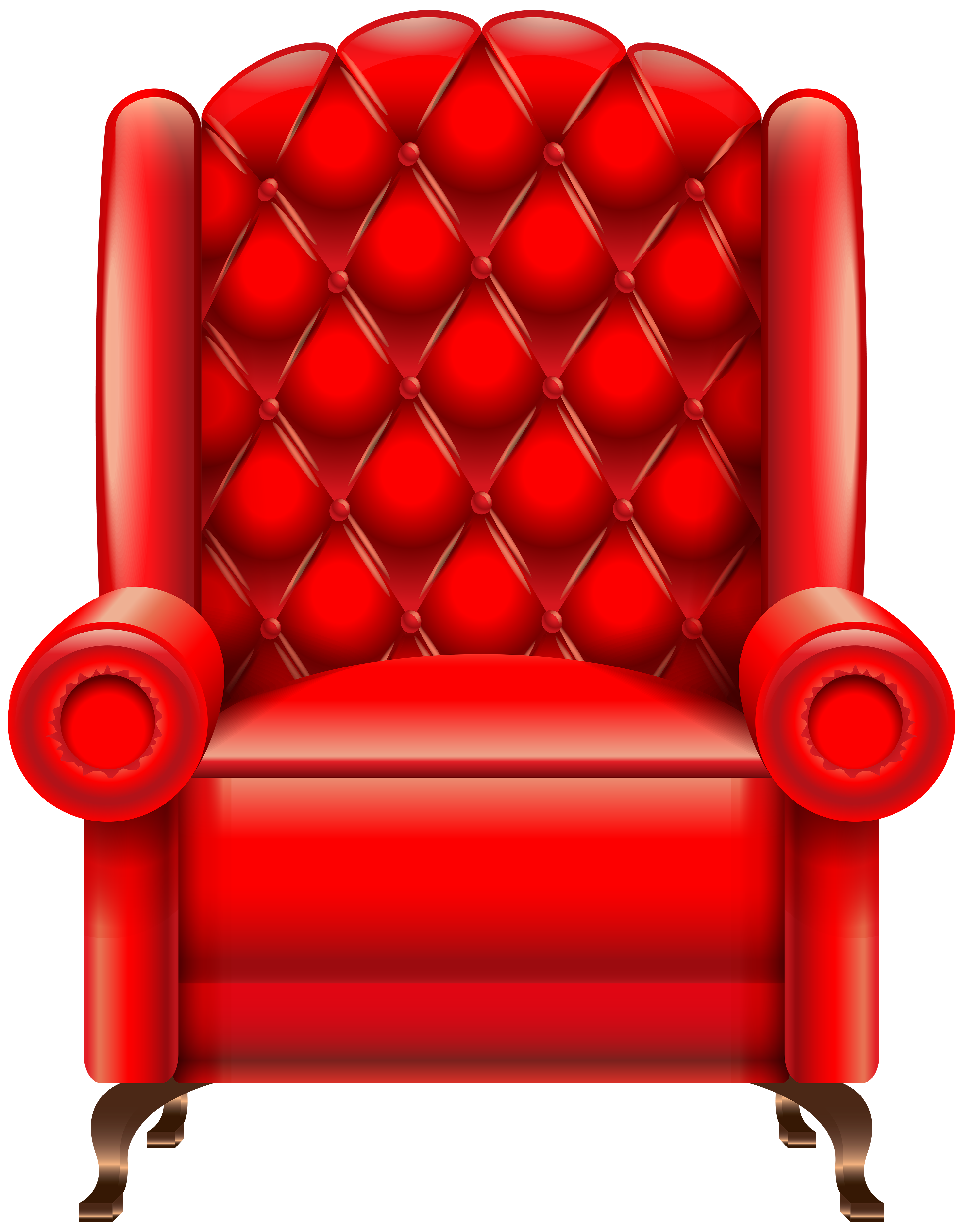 Red Armchair Transparent PNG Clip Art Image.