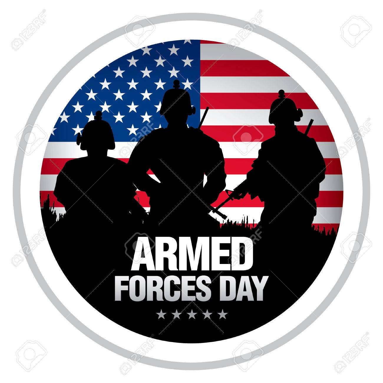 Armed forces day template badge.