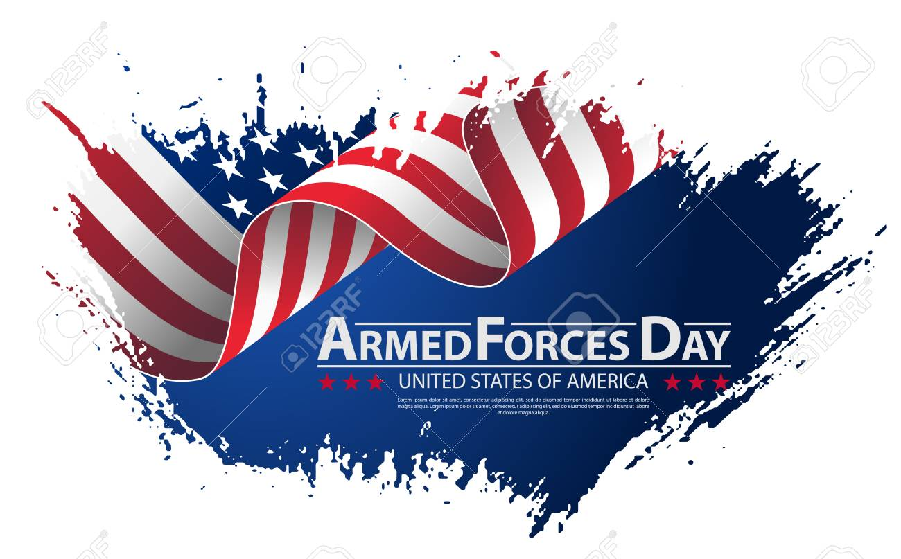 Armed forces day template poster design vector illustration background...