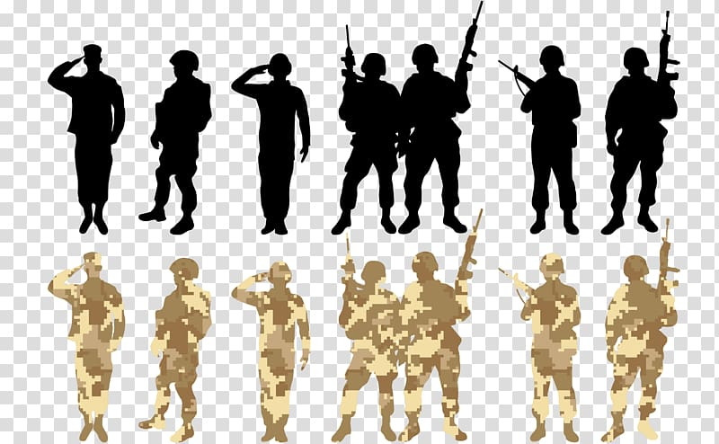 Black and brown camouflage military men illustration.