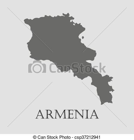 EPS Vector of Black Armenia map.