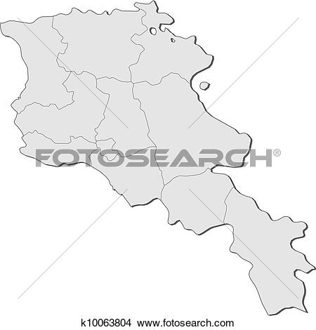 Clipart of Map of Armenia k10063804.
