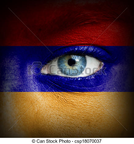 Drawings of Human face painted with flag of Armenia csp18070037.