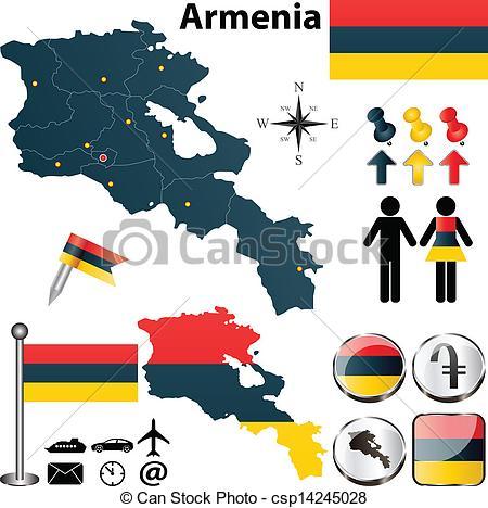 Vector Illustration of Map of Armenia.