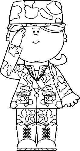 Black & White Military Girl Saluting Clip Art.