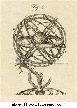 Antique Illustratration of Armillary Sphere (copper.