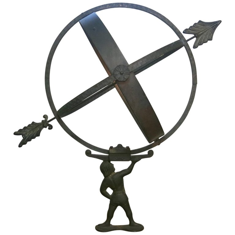 Brass Bronze and Copper Armillary Sundial Attributed to Sune.