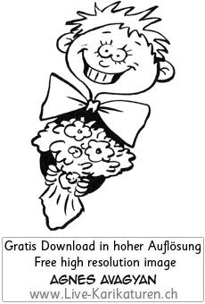 Blumenstrauss Junge Geschenk Ueberraschung.