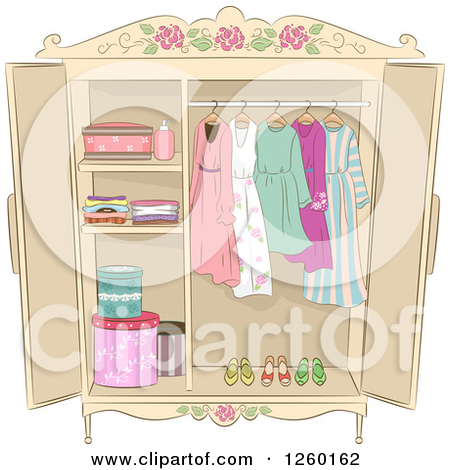 Clipart of a Shabby Chic Armoire with Ladies Clothing.