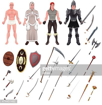 Medieval avatar with armors and weapons Clipart Image.