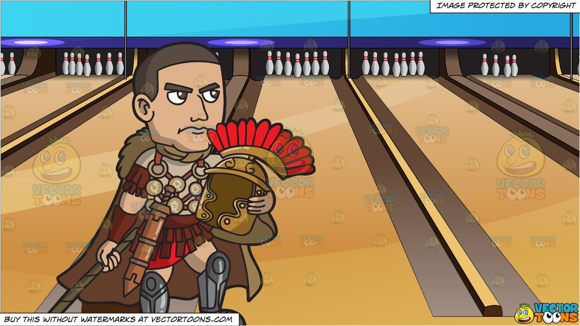 A Roman Centurion Commander and Bowling Lanes Background.